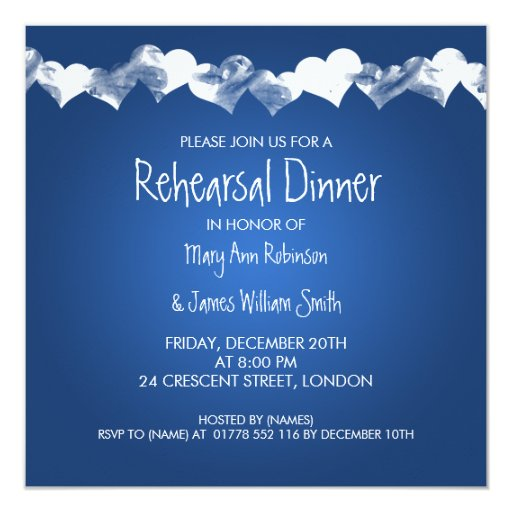 Wedding Rehearsal Dinner Grunge Hearts Blue 5.25x5.25 Square Paper Invitation Card