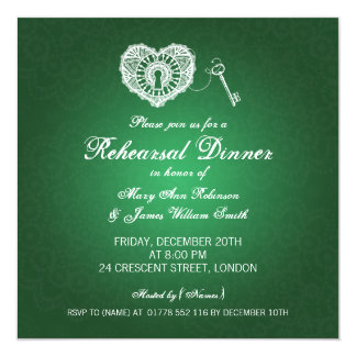 Wedding Rehearsal Dinner Grunge Hearts Green Card