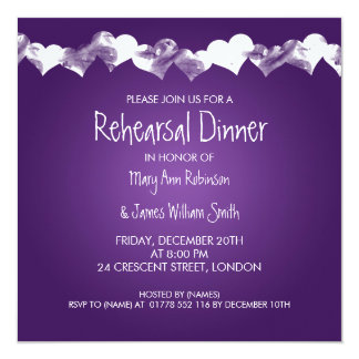 Wedding Rehearsal Dinner Grunge Hearts Purple Card