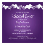 Wedding Rehearsal Dinner Grunge Hearts Purple 5.25x5.25 Square Paper Invitation Card