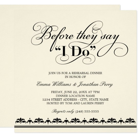 wedding rehearsal dinner invitation | wedding vows | zazzle, Wedding invitations