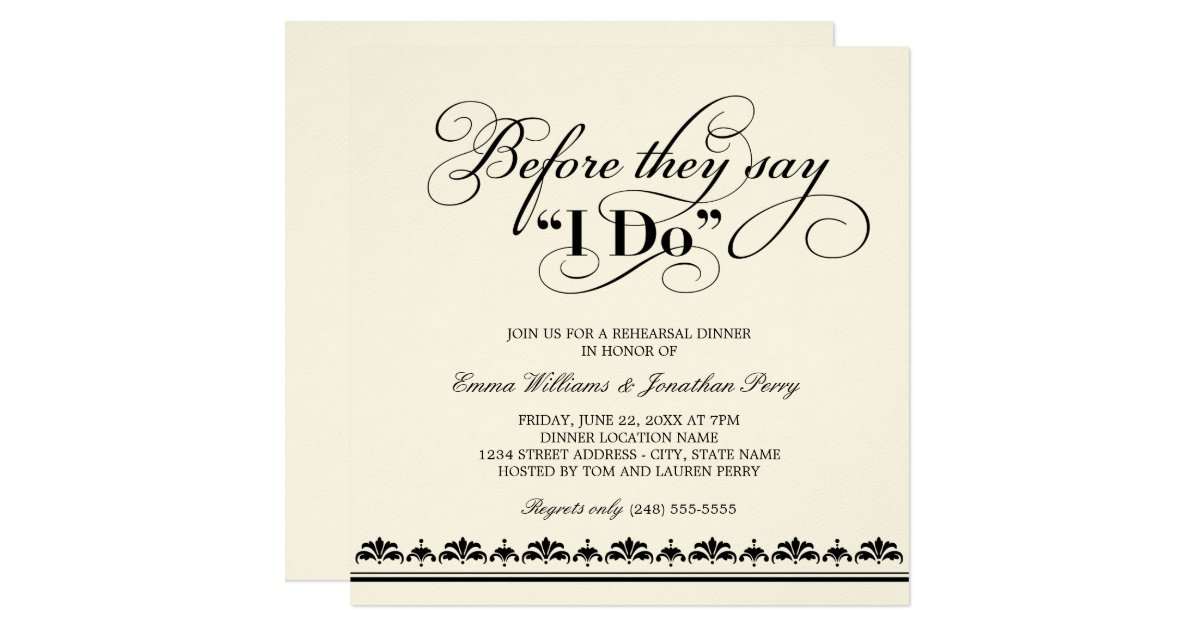 Wedding Rehearsal Dinner Invitation Wedding Vows