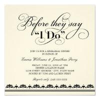 Wedding Rehearsal Dinner Invitation   Wedding Vows