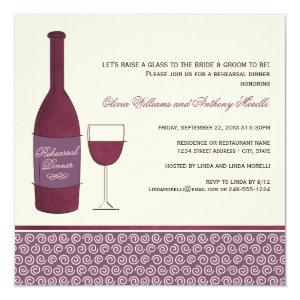 Wedding Rehearsal Dinner Invitations | Wine Theme 5.25
