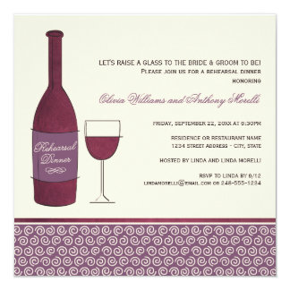"Wedding Rehearsal Dinner Invitations | Wine Theme 5.25"" Square Invitation Card"