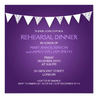 "Wedding Rehearsal Dinner Love Bunting Purple 5.25"" Square Invitation Card"