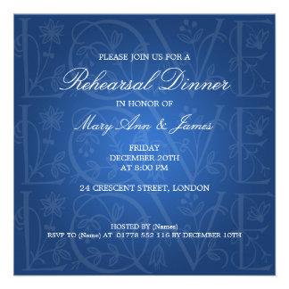 Wedding Rehearsal Dinner Love Flourish Blue Custom Announcement