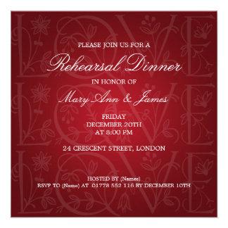 Wedding Rehearsal Dinner Love Flourish Red Custom Invitation