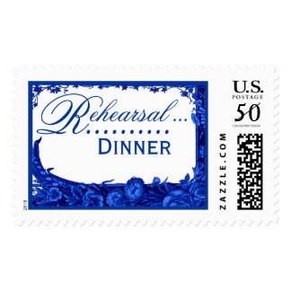 Wedding Rehearsal Dinner Magenta and Blue Roses Postage