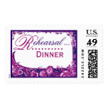 Wedding Rehearsal Dinner Magenta and Purple Roses Postage Stamp