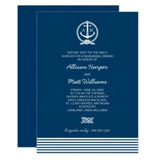 Wedding Rehearsal Dinner | Nautical Theme Card | Zazzle