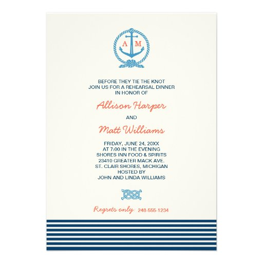Wedding Rehearsal Dinner | Nautical Theme Personalized Announcement