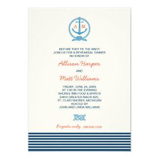 Wedding Rehearsal Dinner | Nautical Theme 5x7 Paper Invitation Card