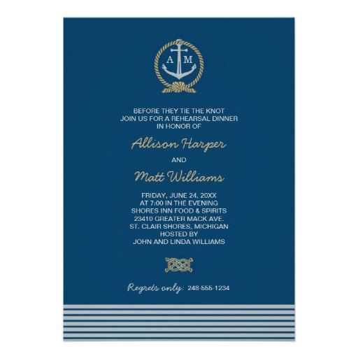 Wedding Rehearsal Dinner | Nautical Theme Invites