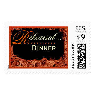 Wedding Rehearsal Dinner - Orange Vintage Roses Postage