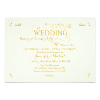 Wedding Rehearsal Dinner Party Invitation Cr/Gold