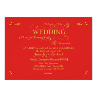 Wedding Rehearsal Dinner Party Invitation Red