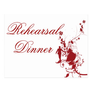 Wedding Rehearsal Dinner Red And White Postcard