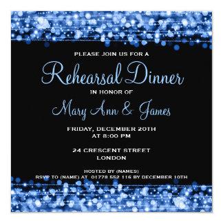 Wedding Rehearsal Dinner Sparkles Blue Card