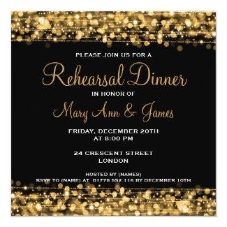 Wedding Rehearsal Dinner Sparkles Gold Invitation