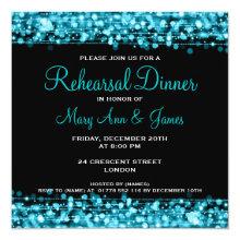 Wedding Rehearsal Dinner Sparkles Turquoise Card