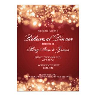 Wedding Rehearsal Dinner Sparkling Lights Gold 5x7 Paper Invitation Card