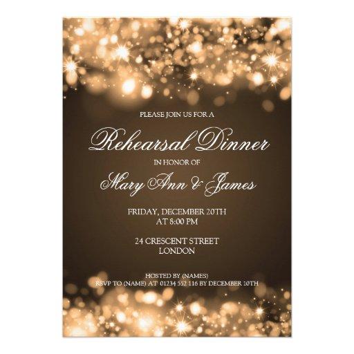 Wedding Rehearsal Dinner Sparkling Lights Gold Announcement