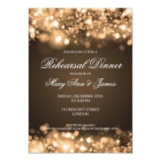 Wedding Rehearsal Dinner Sparkling Lights Gold Invitation