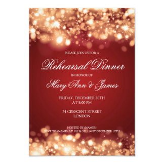 Wedding Rehearsal Dinner Sparkling Lights Gold Invitation