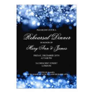 Wedding Rehearsal Dinner Sparkling Lights Sapphire 5x7 Paper Invitation Card