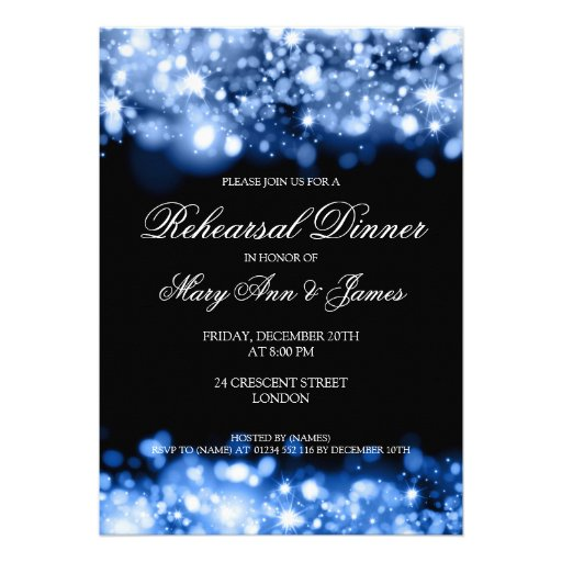 Wedding Rehearsal Dinner Sparkling Lights Sapphire Invitation