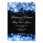 Wedding Rehearsal Dinner Sparkling Lights Sapphire 5x7 Paper Invitation Card