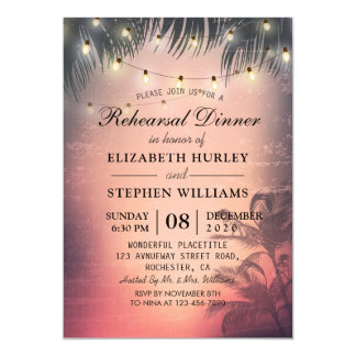Wedding Rehearsal Dinner Summer Palm Trees Lights Invitation