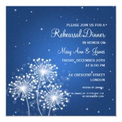 Wedding Rehearsal Dinner Summer Sparkle Sapphire 5.25x5.25 Square Paper Invitation Card