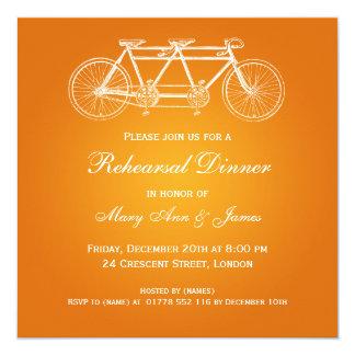 Wedding Rehearsal Dinner Tandem Bike Orange Card