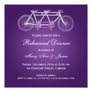 Wedding Rehearsal Dinner Tandem Bike Purple Card
