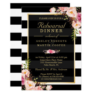Wedding Rehearsal Dinner Vintage Gold Floral Decor Card