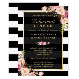 Wedding Rehearsal Dinner Vintage Gold Floral Decor Invitation