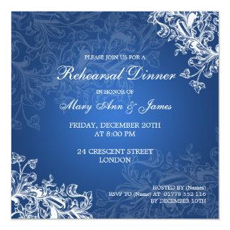 Wedding Rehearsal Dinner Vintage Swirls Blue Card