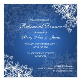 Wedding Rehearsal Dinner Vintage Swirls Blue Custom Invite