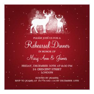 Wedding Rehearsal Dinner Winter Deer Sparkle Red Custom Invites