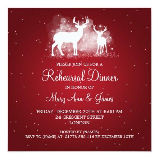 Wedding Rehearsal Dinner Winter Deer Sparkle Red Invitation Zazzle