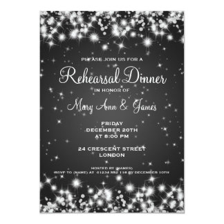 Wedding Rehearsal Dinner Winter Sparkle Black Card