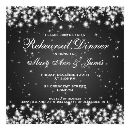 Wedding Rehearsal Dinner Winter Sparkle Black Invite