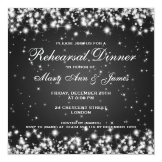 Wedding Rehearsal Dinner Winter Sparkle Black 5.25x5.25 Square Paper Invitation Card