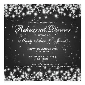 Wedding Rehearsal Dinner Winter Sparkle Black Invite at Zazzle