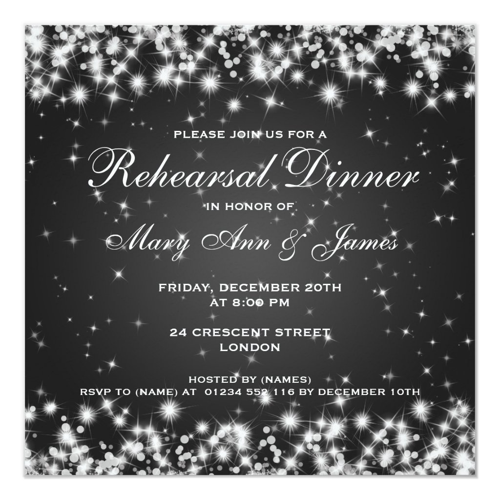 Wedding Rehearsal Dinner Winter Sparkle Black Invitation