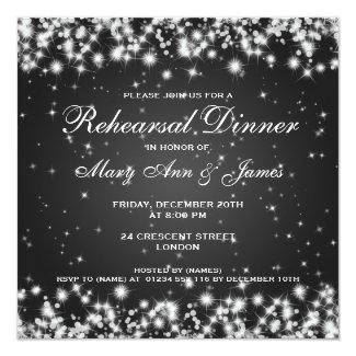 Wedding Rehearsal Dinner Winter Sparkle Black Invitation