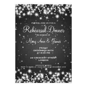 Wedding Rehearsal Dinner Winter Sparkle Black Custom Invites