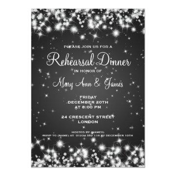 Wedding Rehearsal Dinner Winter Sparkle Black Custom Invites at Zazzle